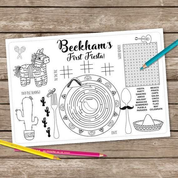 Printable Fiesta Coloring Table Mat Birthday Kids Activity Placemat Fiesta Coloring Activity Page Party Game Cinco De Mayo Placemat