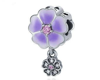 090c66466 discount code for purple flower 925 sterling silver charm bracelet bead fits  european and pandora bracelet