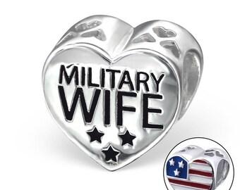 683a193b5 Military Wife 925 Sterling Silver Charm Bracelet Bead ( Fits Pandora and  European Bracelets)