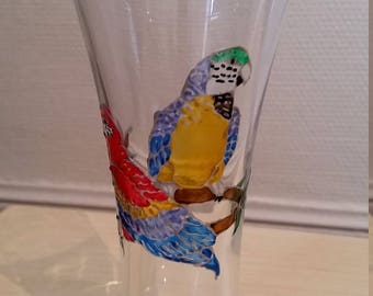 Painted glass appetizer - red and blue parrots