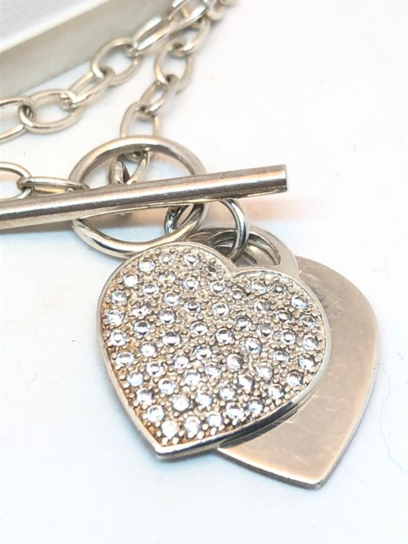 Sterling silver 16 inch T bar chain sparkling heart pendant necklace