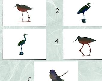 5 Watercolor Silhouette Birds Card Set, Birds Variety Card Set, Silhouette Birds Cards, Birds Silhouette Card Set, Watercolor Birds Cards