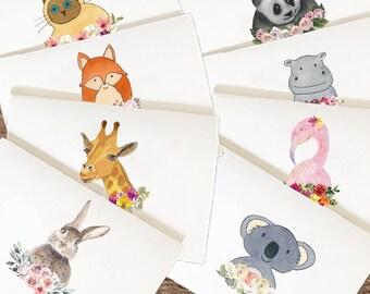 Watercolor Flower Animals Card Set, Flower Animals Greeting Card, Flower Animals, Floral Animals Card, Cute Koala Card, Cat Card, Hippo Card