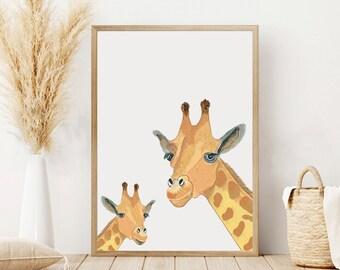Watercolor Giraffe Art, Giraffe Print, Giraffe Mom and Baby Print, Animals Wall Art, Safari Nursery Decor, Mother's Day, Mom's Day, Baby Art