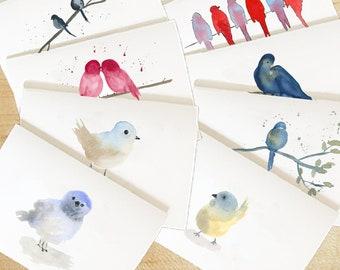 Custom Watercolor Birds Cards Variety Set, Watercolor Bird Note cards, Cute Bird Card, Choose Your Own Watercolor Bird Cards Set, Birds Card