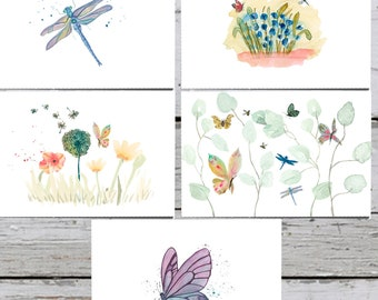 Watercolor Garden Cards. Butterfly Cards. Botanical Card Set. Nature Cards. Dragonfly Cards. Insects Card. Garden Cards, Thank You Cards