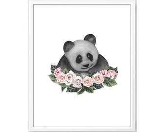 Black and White Panda Print, Watercolor Panda Art, Watercolor Panda With Flower Crown, Panda Nursery Print, Modern Nursery Art, Panda Print