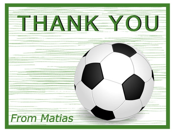 10 Personalized Soccer Thank You Cards Soccer Cards For Etsy