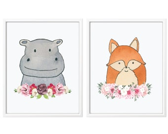 Watercolor Animals Prints for Nursery, Set of 2 Animal Prints, Nursery Prints, Nursery decor, Hippo Nursery, Hippo Print, Fox Print, Fox Art