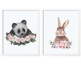 Nursery Prints, Set of 2 Animal Prints, Watercolor Animals Prints for Nursery, Nursery decor, Bunny Nursery, Panda Print, Bunny Print, Panda