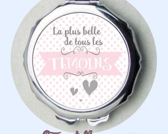 witness - godmother gift - nanny gift present - personalized witness mirror pink