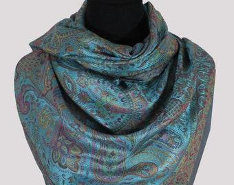 Luxury turquoise blue Handmade silk Jamawar design bridesmaid scarf/Paisley scarf/pashmina shawls/designer scarf/Vintage scarf-