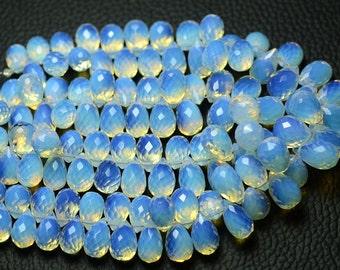 AAA 16 Strand of Round Tear drop Opalite Sea Opal 10 x 15MM Glass Beads