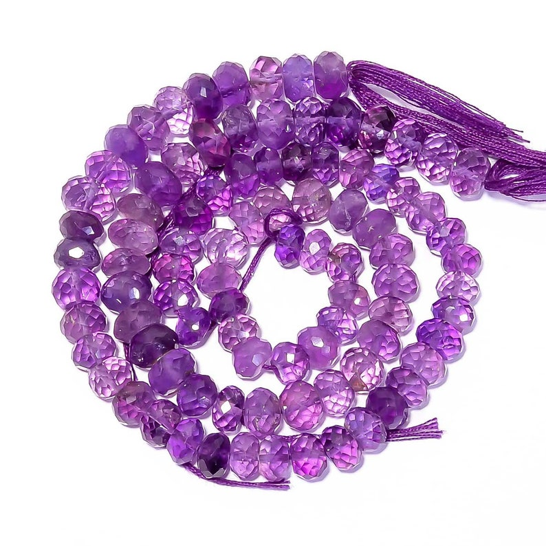 8 Inches Strand Natural Amethyst Rondelles 6mm to 8.5mm Faceted Rondelle Gemstone Beads Superb Amethyst Beads Semi Precious Rondelle No1633