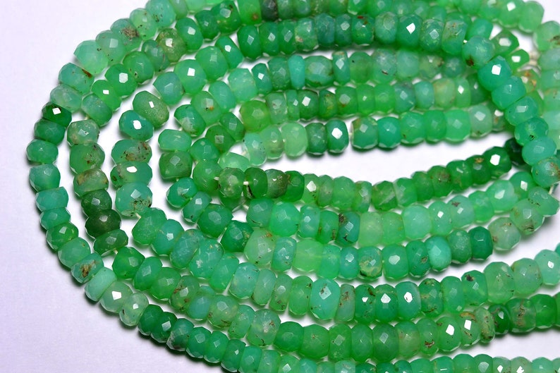 15 Inches Strand Natural Chrysoprase Rondelle 5.5mm to 7mm Beads Faceted Gemstone Beads Rare Chrysoprase Beads Semi Precious Stone No1150