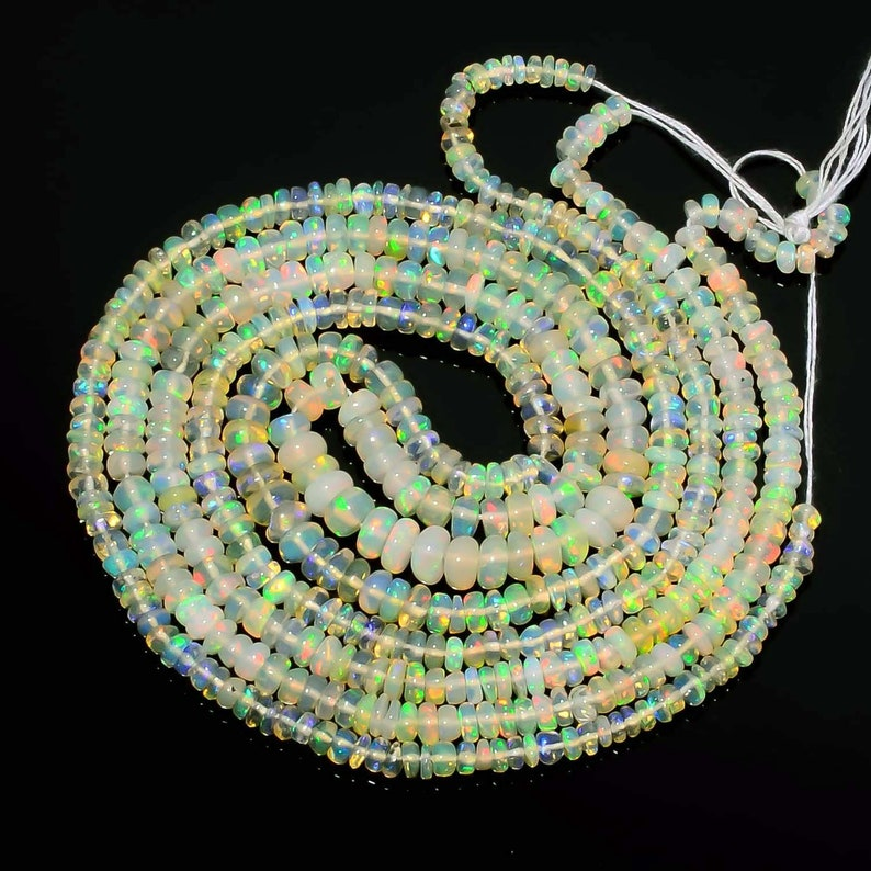 17.5 Inches Natural Ethiopian Opal Rondelle 2.5mm to 4.5mm Smooth Gemstone Beads AAA Opal Beads Semi Precious Rondelles No1734