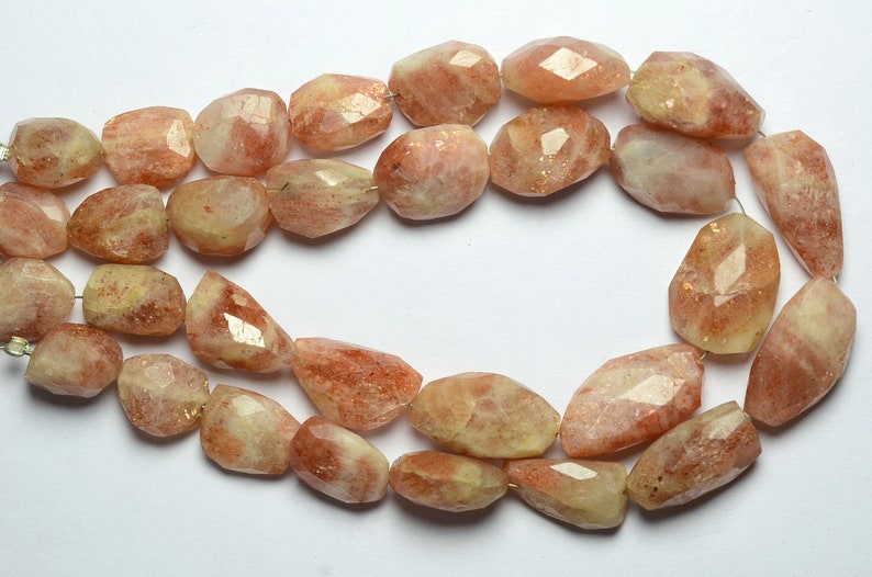 8.5 Inch Strand Natural Sunstone Nugget Beads 9mm to 17mm Faceted Big Nuggets Gemstone Beads Rare Sunstone Beads Semi Precious Stone No4492