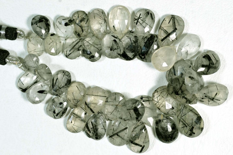 7 Inches Strand Natural Black Rutile Briolettes 6x10mm to 10x16mm Pear Shape Beads Faceted Gemstone Beads Black Rutile Stone No 509