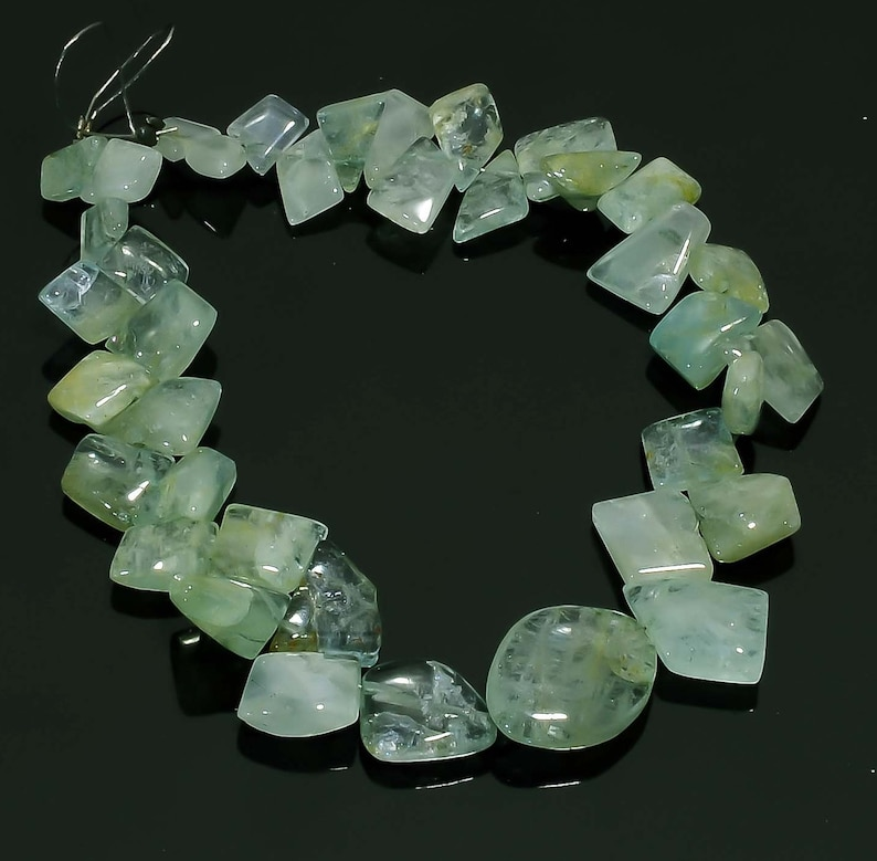 7.5 Inches Natural Aquamarine Nugget Beads 5x7mm to 13x18mm Smooth Nuggets Gemstone Beads Rare Aquamarine Stone Nugget No1750