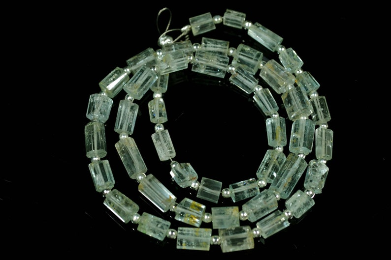 15.5 Inches Natural Aquamarine Step Cut Beads 4x5mm to 5x9.5mm Tube Beads Barrel Gemstone Briolettes Aquamarine Beads Semi Precious No665