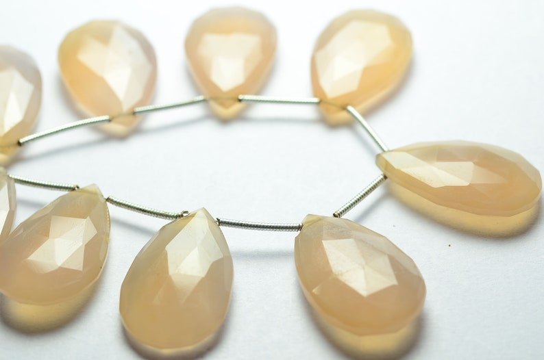 6 Inches Strand Natural Chalcedony Beads 15x24mm to 16x25mm Faceted Pear Briolettes Gemstone Beads Rare Chalcedony Briolettes No3354