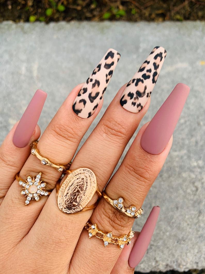 Cheetah Print  Press On Nails  Mauve  Nails  Any Shape and image 0