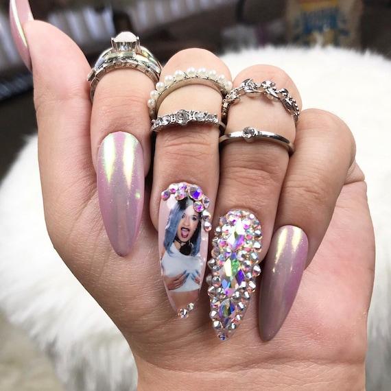 Cardi B S Nails: Cardi B Diamond Set Press On Nails Fake Nails Any Shape