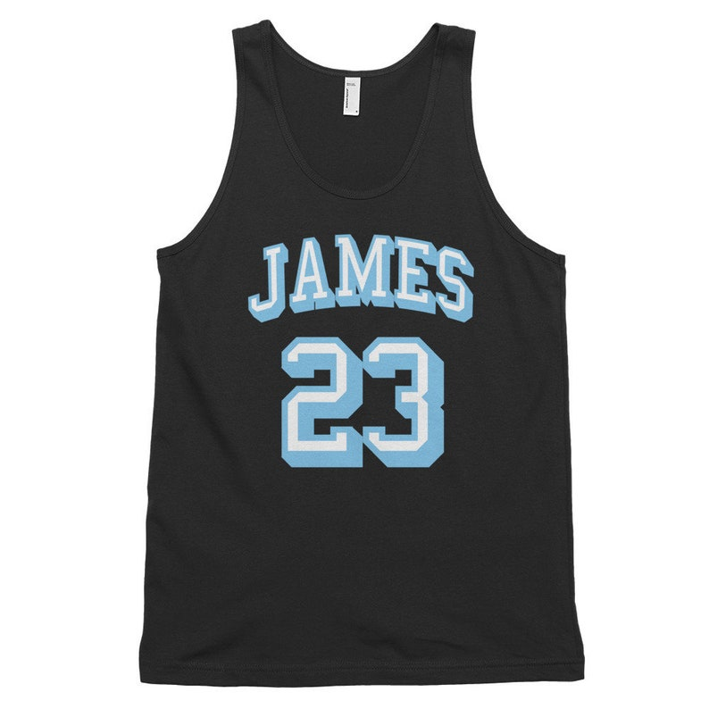 online retailer 99691 aa2ba James 23 Retro Basketball American Apparel Fine Jersey Tank Top Vest Unisex  Customizable Name and Number