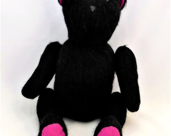 Soft black fabric cotton and long-haired bear fuschia