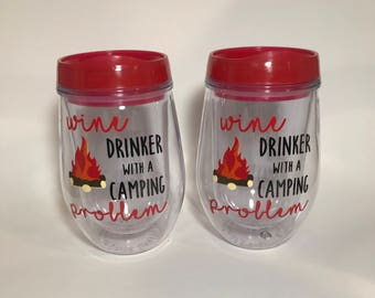 Wine drinker with a camping problem stemless tumbler