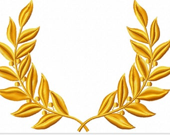 Gold Laurel Wreath Machine Embroidery Design