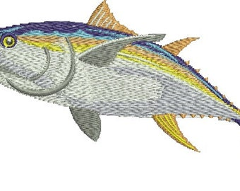 Realistic Yellow Fin Tuna Game Trophy Fish Embroidery Fishing Patch