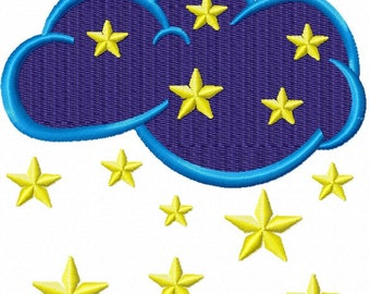 cloud and stars Machine Embroidery Designs, instantly download