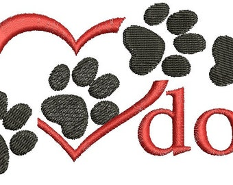 I love dog Machine Embroidery Designs, instantly download 3 sizes