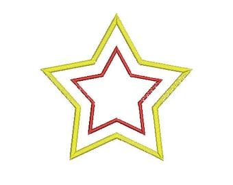 Star aplique Machine embroidery design - instantly download