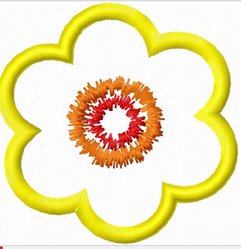 Simple Flowers Applique 3 Different Designs Machine Etsy