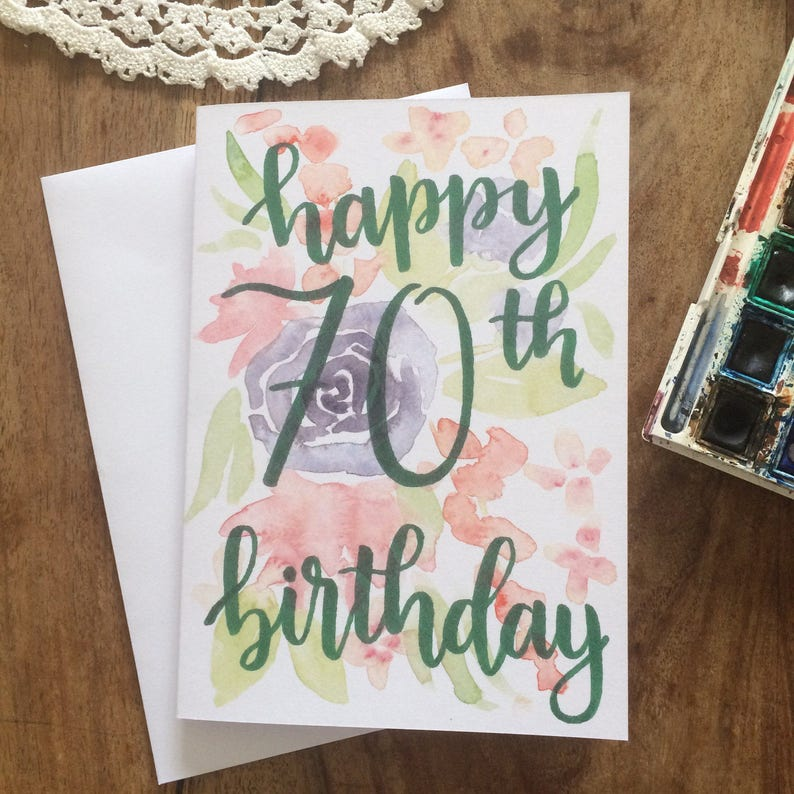 Handpainted 70th Happy Birthday Card Handmade Watercolour
