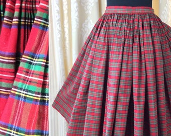Vintage 1950's Red Tartan Finely Pleated Very Full Skirt... UK Size 8 Original Vintage Fifties 50's