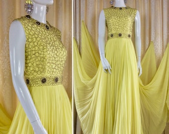 Stunning Vintage 1960's Lemon Chiffon Sunray Pleated Goddess Gown Label: Mike Benet ...Formals UK Size 10 Original Vintage Sixties 60's