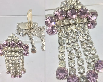 Fabulous Forties Vintage Art Deco Style Clear & Lilac Diamante Clip On Earrings *Very sparkly!* Original Vintage 1940's 40's