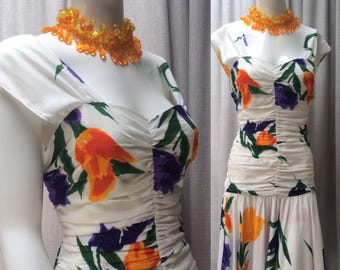Vintage Eighties Vibrant Floral Print High Summer Ruched Dress Label: Wallis UK Size 12  Original Vintage 80's 1980's