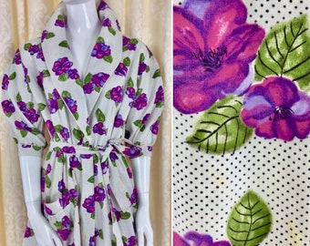 Gorgeous Vintage 1950's Violet Floral Print Cotton Summer House Robe, Beach Cover Up, Poolside Lounging UK Size 12-16 True Vntg Fifties 50's