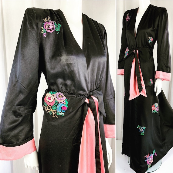 Fabulous Forties Silk Satin Jet Black & Candy Pink