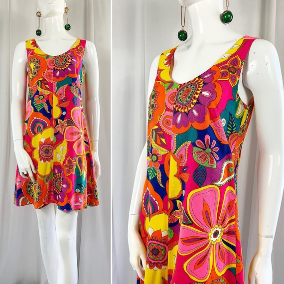 1960's Abstract Psychedelic Floral Shift Mini Dres