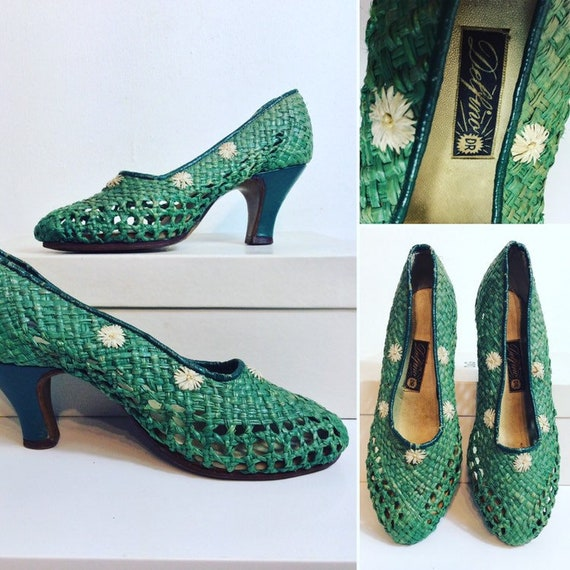 1940's Green Raffia Shoes with embroidered White D