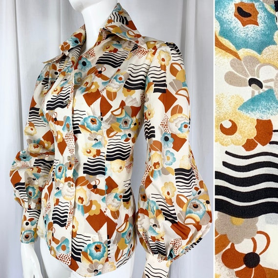 Fab 1970's Abstract Deco Print Shirt in the Style