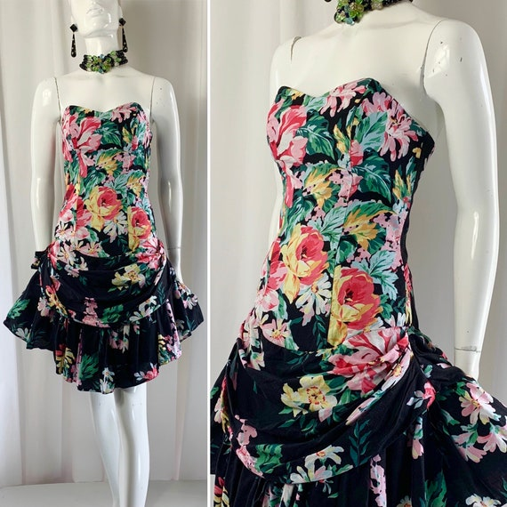 1980's Strapless Gypsy Rose Floral Print Cotton RA