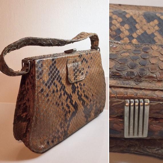 Stunning 1940's Java Python Snakeskin Handbag .. L