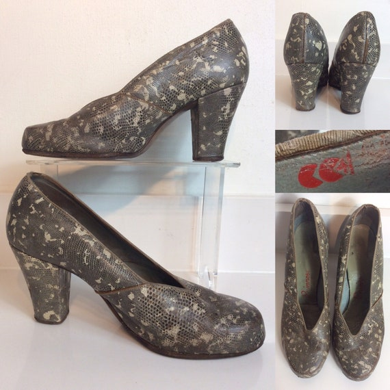 Amazing 1940's Faux Snakeskin all Leather Court Sh