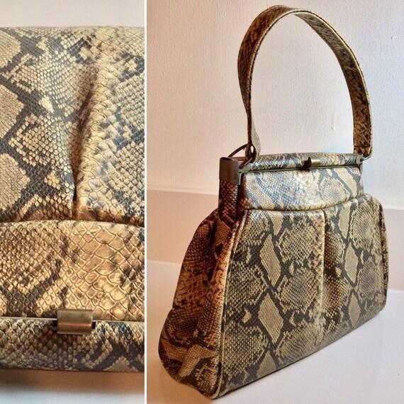 Gorgeous 1940's Vinyl Mock Snakeskin Handbag ... O